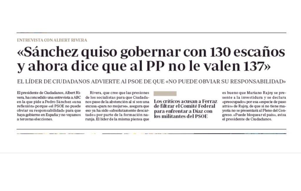Pues, mira, no le falta razón a @Albert_Rivera en esto. Y se lo dice a Sanchez el que fue precisamente su socio https://t.co/P00LlbMJNz