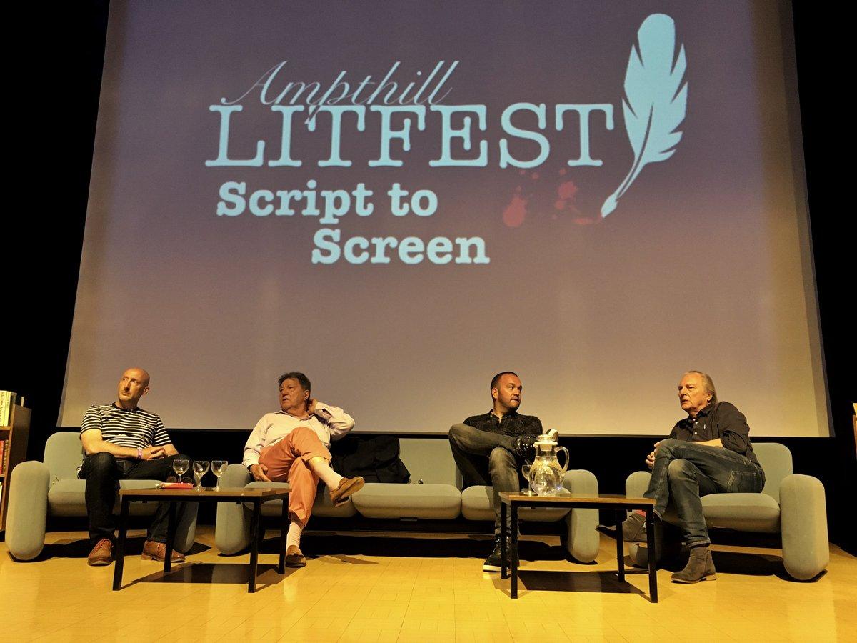 #LeonButler #grahambarker #EugeneMcGing and #SimonBosanquet talking at @AmpLitFest  #writer #director https://t.co/24q92kNrxc