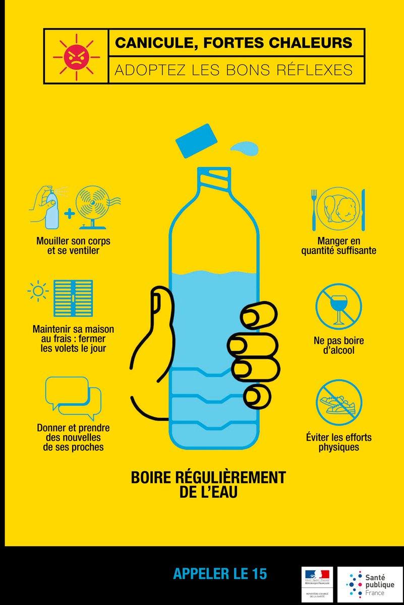 #Chaleur #canicule : buvez régulièrement de l'eau & humidifiez-vous le corps plusieurs fois par jour https://t.co/AttjFHNhYj