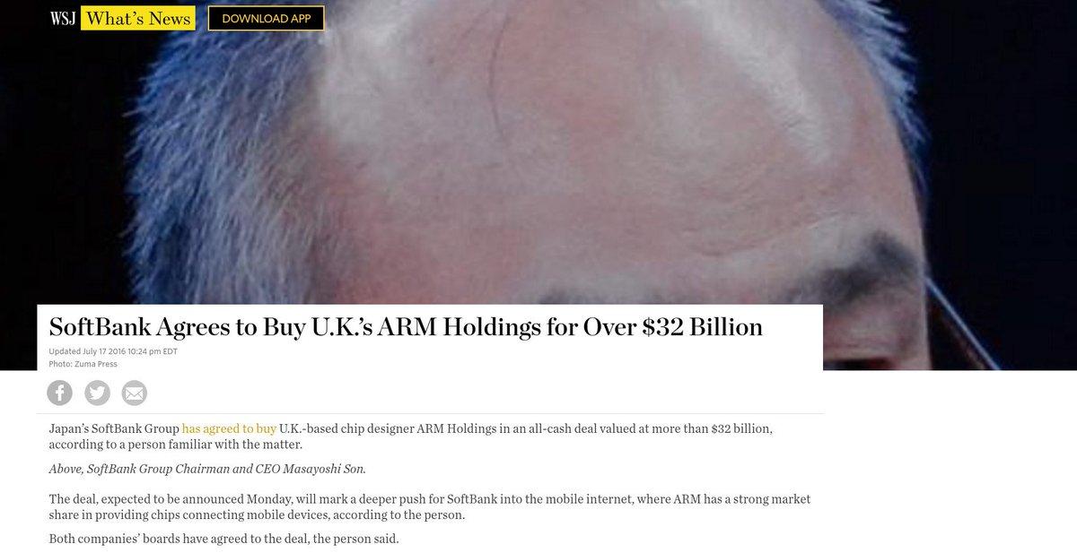 ソフトバンクによる ARM 買収を報じるWSJのページ、いったい何を報道しようとしているのか。 https://t.co/PSC3YqEArD