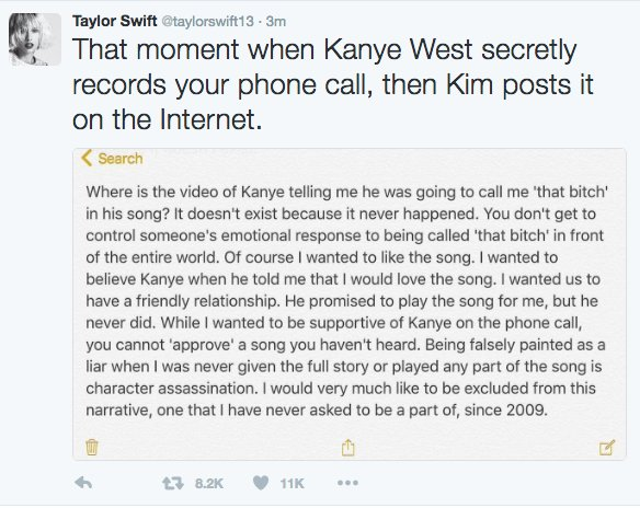 Taylor Swift Blasts Kanye West Over Leaked Video Discussing