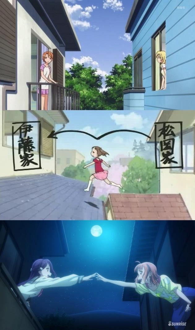 静岡アニメの定番。主人公と友達の家が隣同士でお互いの部屋が丸見えというベタ設定。 #夏色キセキ #苺ましまろ #ラブラ