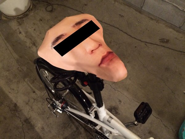 あまりに自転車が盗まれるので、自分の顔のサドルカバーを作りました。 https://t.co/LlQUcvla0p