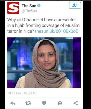 I'm hard to shock but speechless that @Channel4News @fatimamanji has been treated this way by @TheSun @TellMamaUK https://t.co/REv4fCeqLY