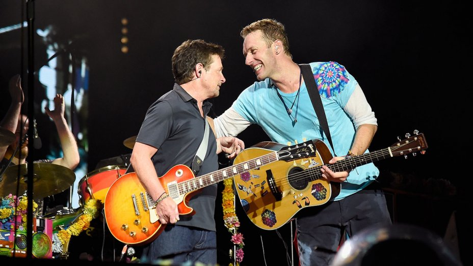 Watch: Michael J. Fox and @Coldplay recreate 'Back to the Future' at a NJ concert
