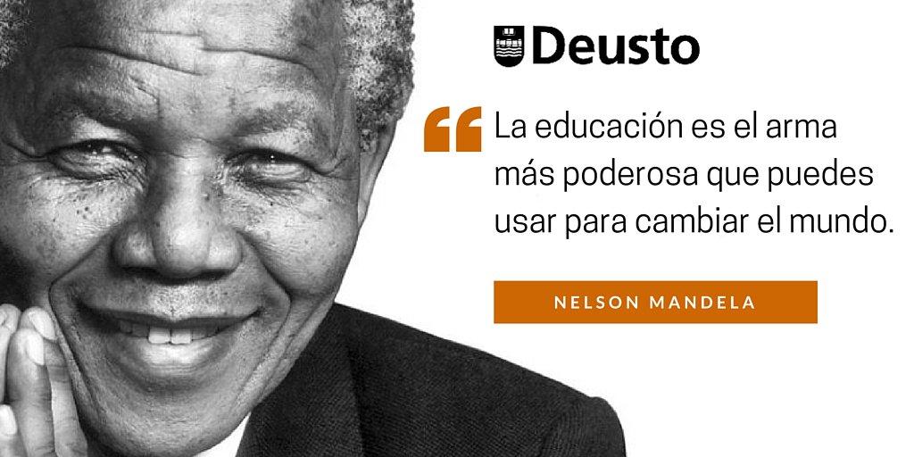 """""""La educación es el arma más poderosa que puedes usar para cambiar el mundo."""" Nelson Mandela #MandelaDay https://t.co/GvhwHk1fqn"""