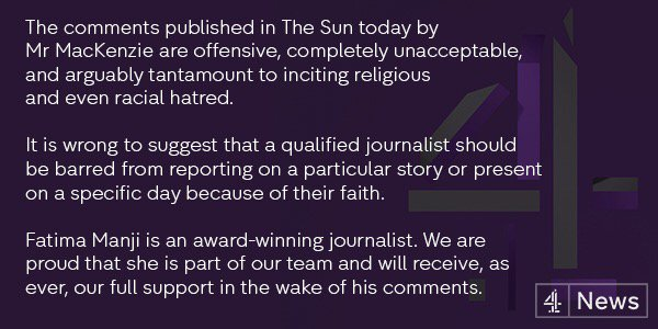 Our statement on @TheSun's column on @fatimamanji https://t.co/aNxzrAhvLC