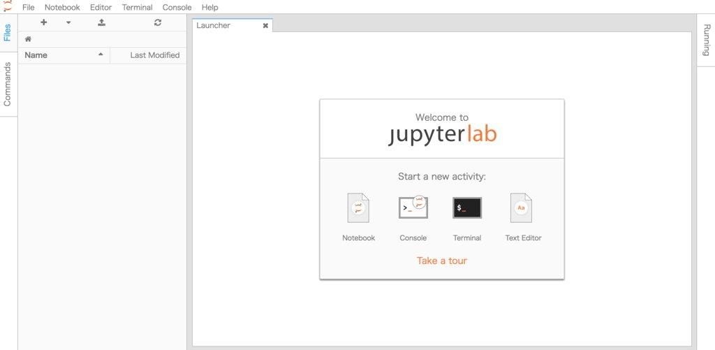 JupyterLab インストール 起動画面