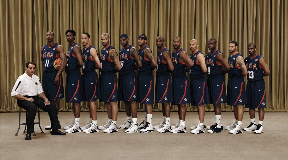 A USA tradition since 2008, when players lined up in reverse order so Coach K himself could block Dwight's adidas: https://t.co/VKIHe1yH12