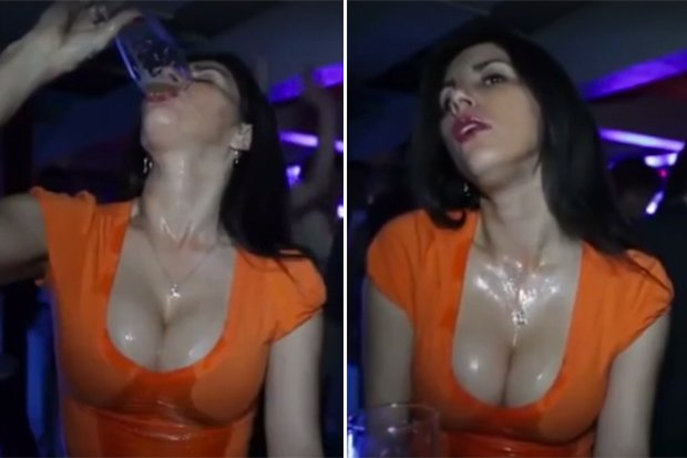 Watch Busty Brunette In Sexiest Pint Downing Video Ever