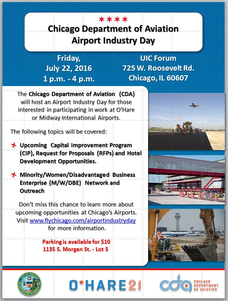 Help strengthen ORD connectivity, capacity & efficiency. Attend Airport Industry Day on 7/22