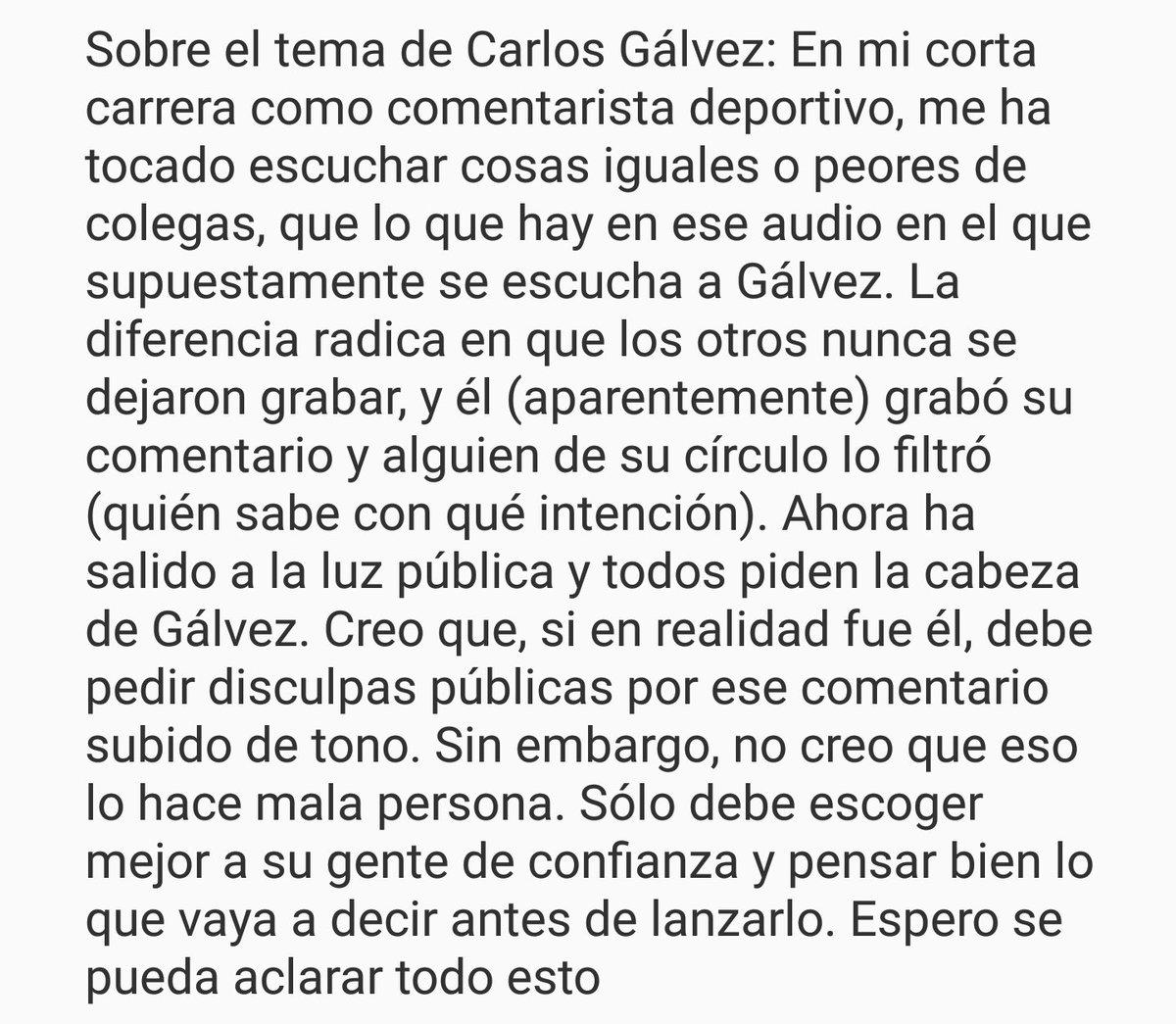 Mi opinión sobre el tema de Carlos Gálvez... https://t.co/nXMSDecNFJ