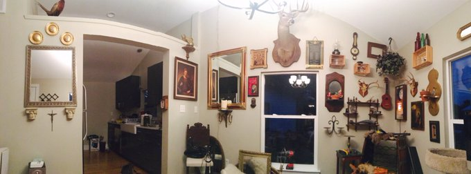 A portion of the work I did today on my new house - still so much to hang ? (excuse the mess, still moving