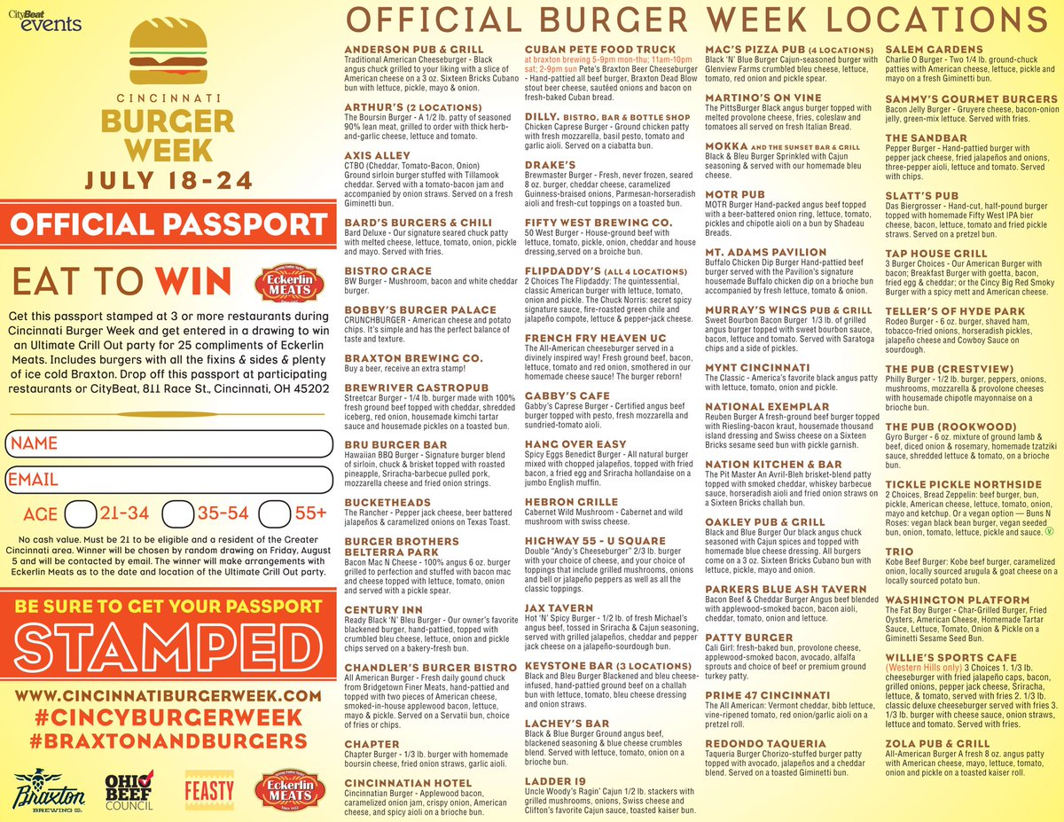 What a great first day of @CincyBurgerWeek.  6 more days to try $5 gourmet burgers!  Official passport below: https://t.co/KoUFsK8Gwf