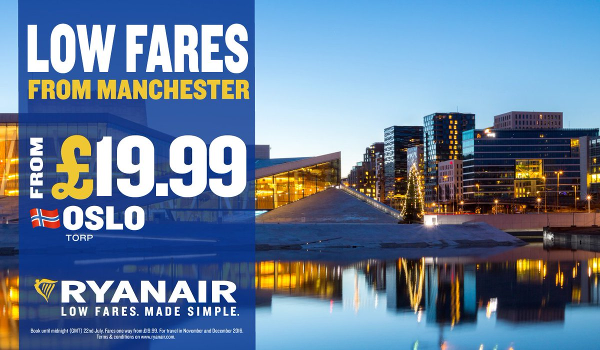 Oslo with @Ryanair from only £19.99! Don't miss out, offer only available until 22 July!
