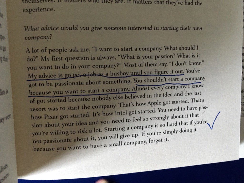 More wisdom from Steve (1997).  When to start a company and why not to start one. https://t.co/c2Y7cJKPSg