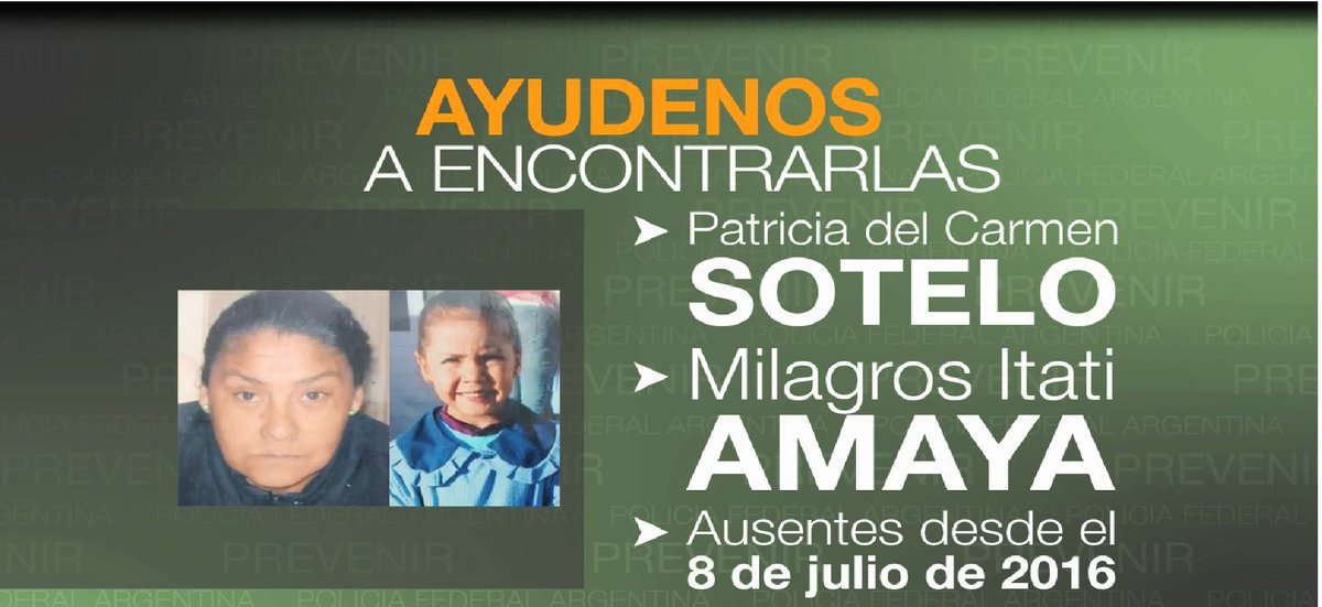 PARADERO:Patricia del Carmen Sotelo y Milagros Itatí Amaya. Llame al 0800-555-5065. https://t.co/8jMfVksWZw