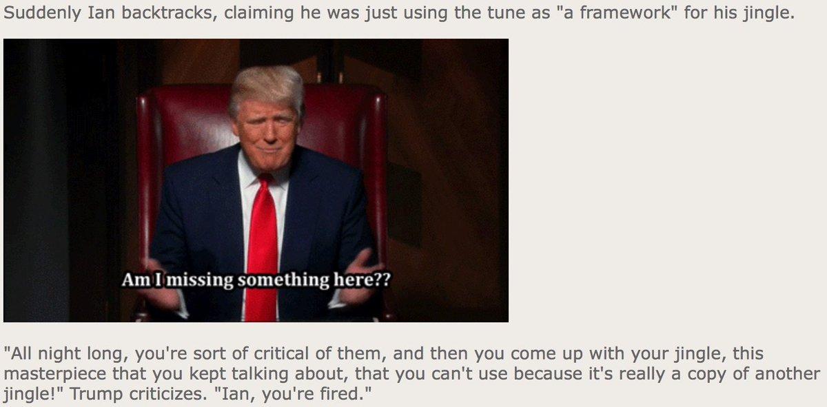 That time when Trump fired an apprentice for plagiarizing a jingle…  https://t.co/GC2wiZ1ao8 https://t.co/XKAVu4swVa