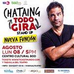 NUEVA FUNCIÓN CARACAS 8 AGOSTO 5pm #TodoGira Centro Cultural BOD https://t.co/4Z3aQT3dTz y taquilla (0212) 4170316 https://t.co/Ap1bN5Gdmq