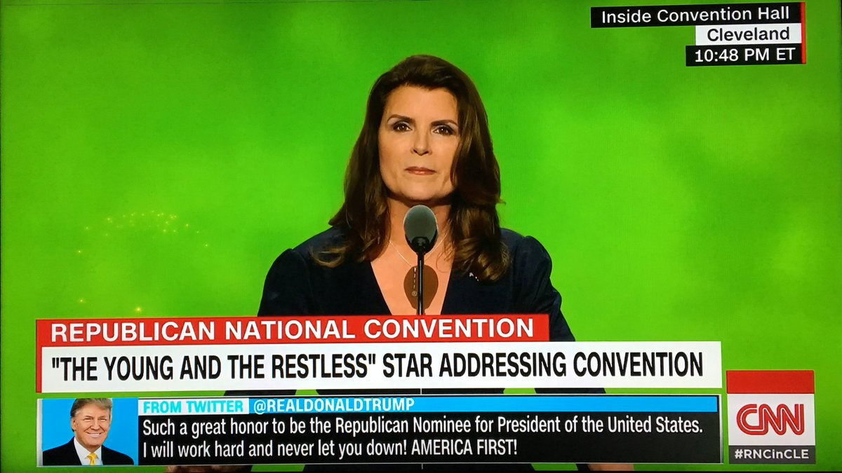 Who decided to put @KimberlinBrown in front of a green screen at #RNCinCLE? Certainly they knew this would happen! https://t.co/XYkRJPsVNc