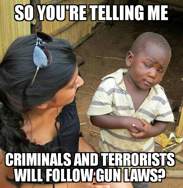 MT @Network_Citizen: So, criminals and terrorists will follow the law? #NRA https://t.co/JHvnh33Cbt #2A #PJNET