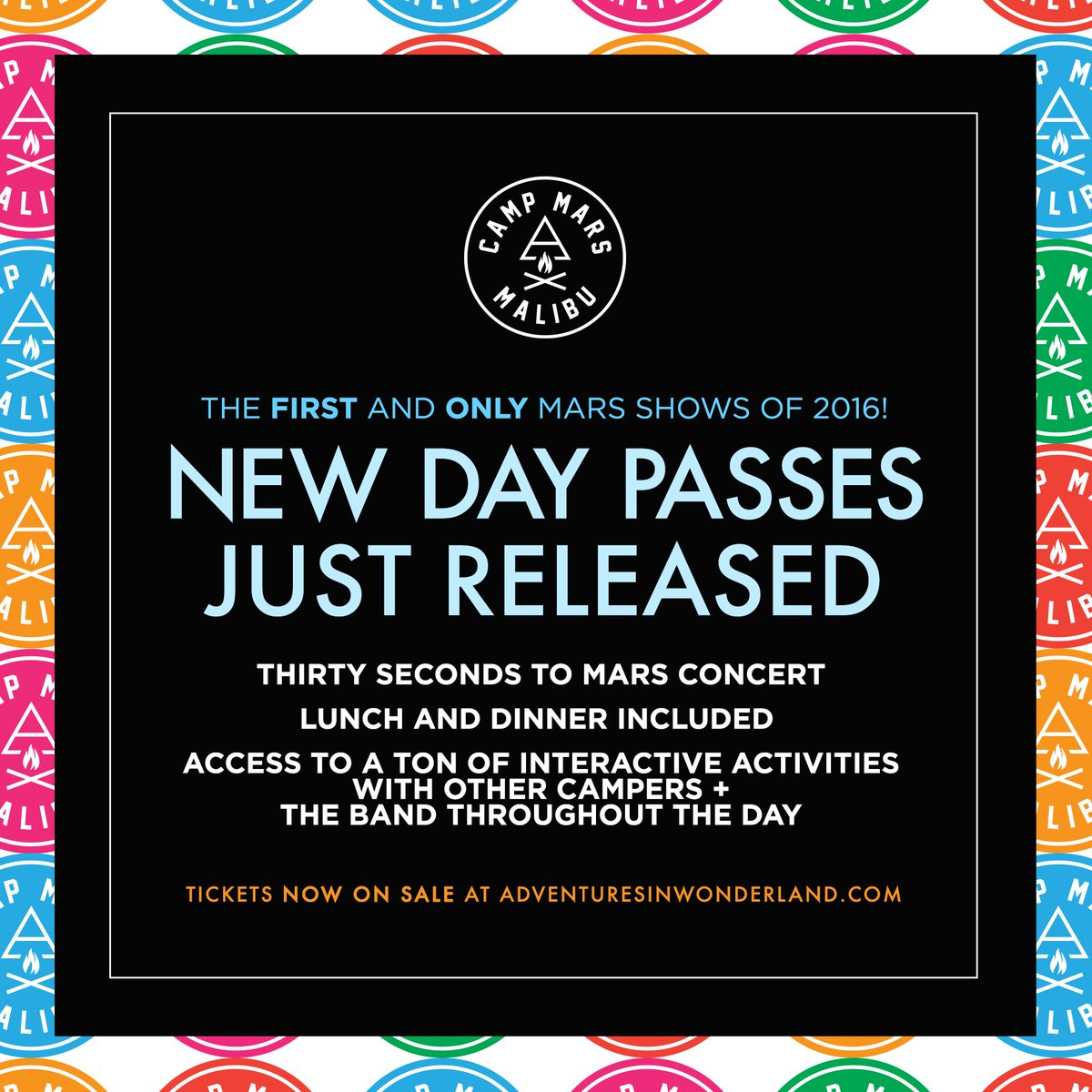RT @30SECONDSTOMARS: ⚡️ DUE TO POPULAR DEMAND! New Individual #CampMars Day Passes NOW AVAILABLE: https://t.co/pefBVypx7J https://t.co/WdOv…