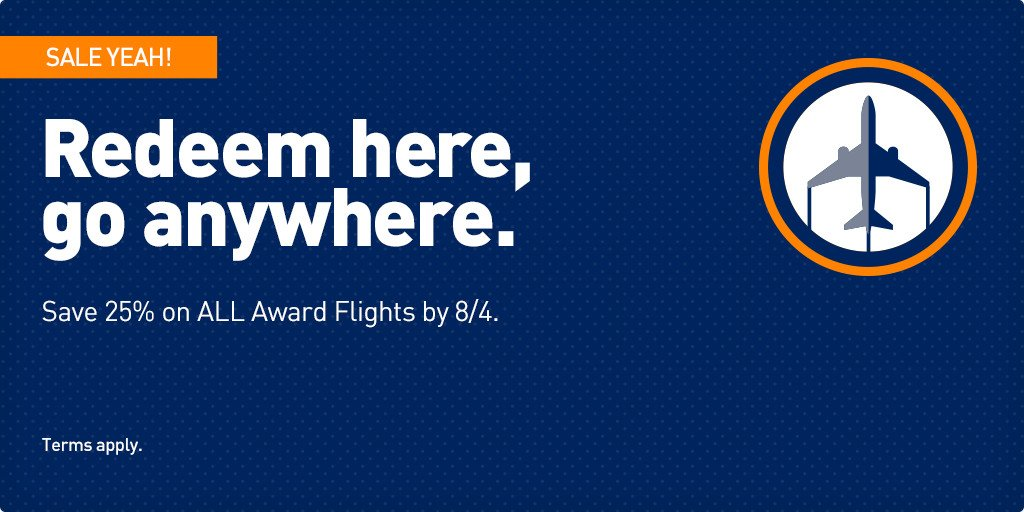 It's all good! ALL Award Flights are 25% off! Just book by 8/4 & fly 9/7 – 11/16. +Restr