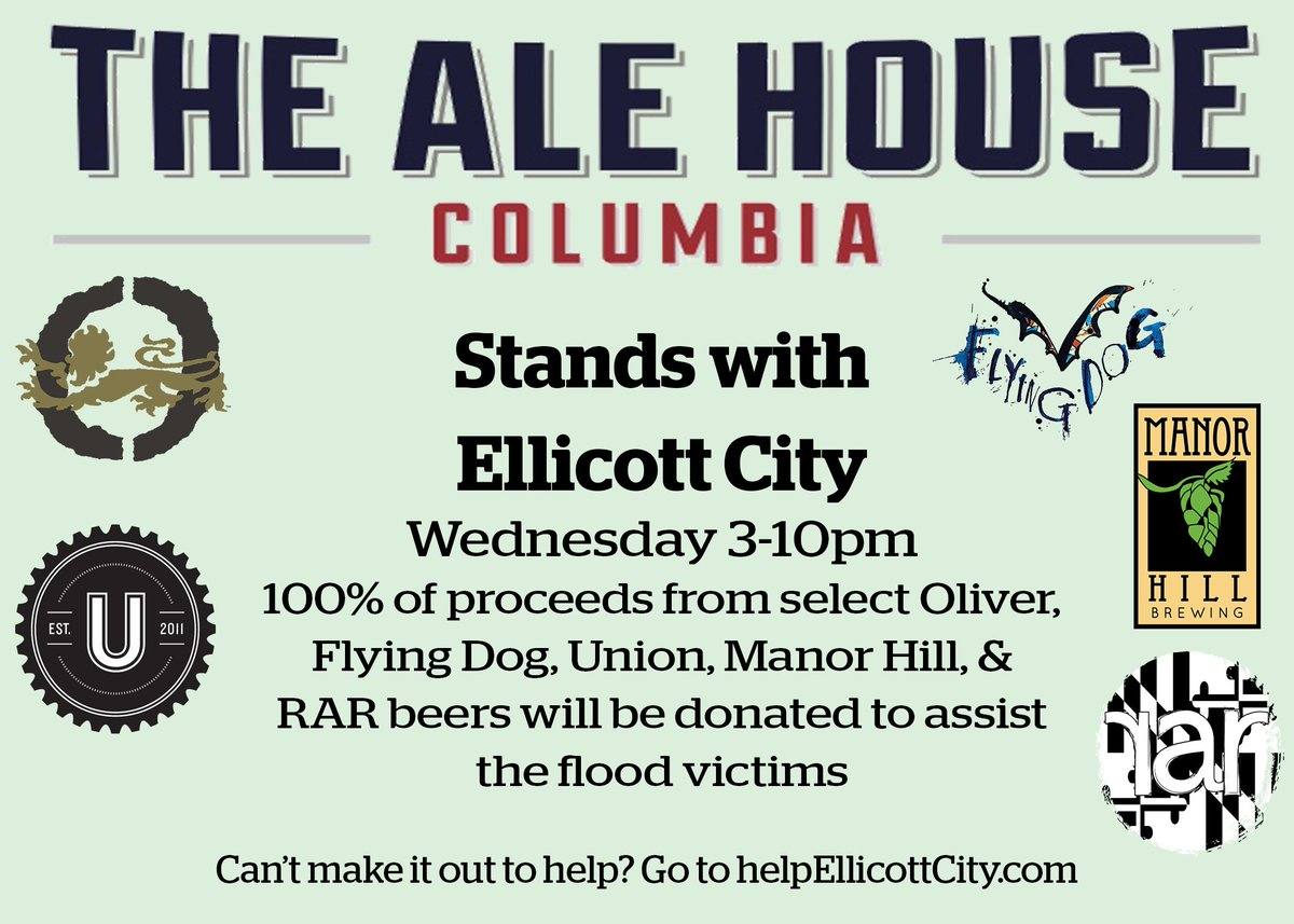MT @AlehouseCol joining in relief @OliverBrewingCo  @FlyingDog @UnionBrewing @Manorhillbrew @rarbrew https://t.co/9Y3Oerzv1h #ellicottcity