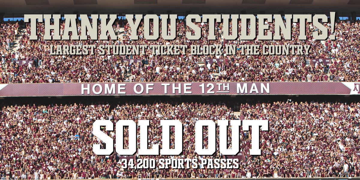 #12thMan Sports Passes are SOLD OUT.  Largest student ticket block in the country. Thank you @TAMU Students! https://t.co/aXEdkYljkm
