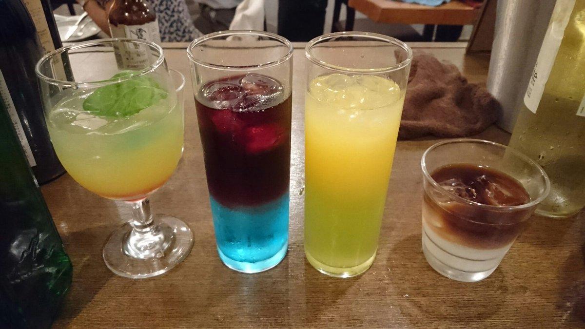 @3chsk_2: バーテンダーさんによるカクテル試作左から・我ら、テンカイナイト!・おかえり、セイラン!・君のお守り、