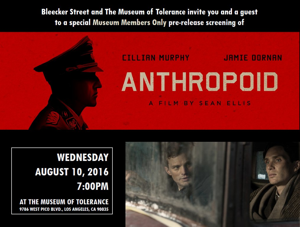 Members! Special Pre-Release Screening of Anthropoid: A film by #SeanEllis8/10 at 7 p.m → https://t.co/azxbUZZzdM https://t.co/cf745Mun6Q