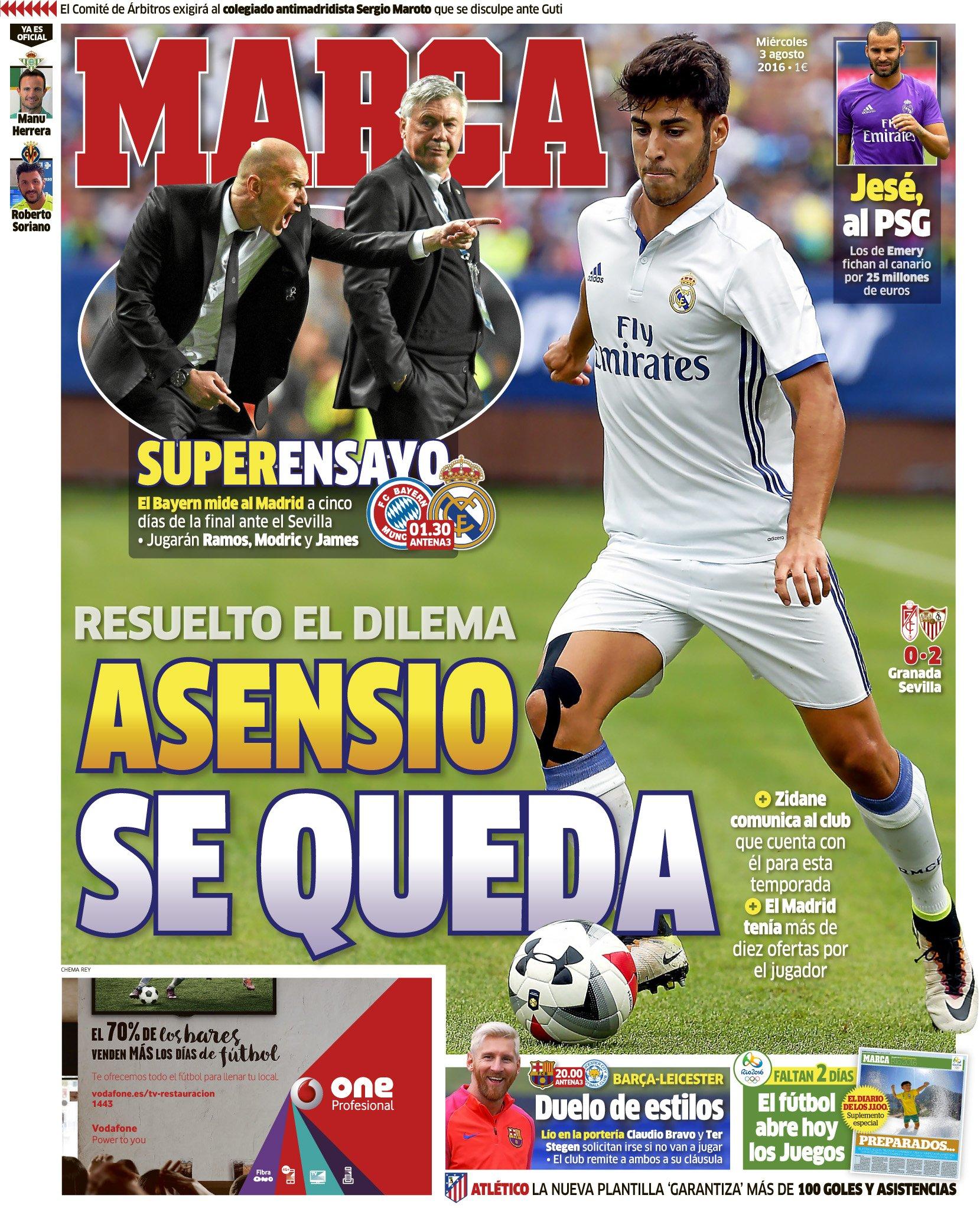 #LaPortada 'Asensio se queda' https://t.co/vDroNqkU4s