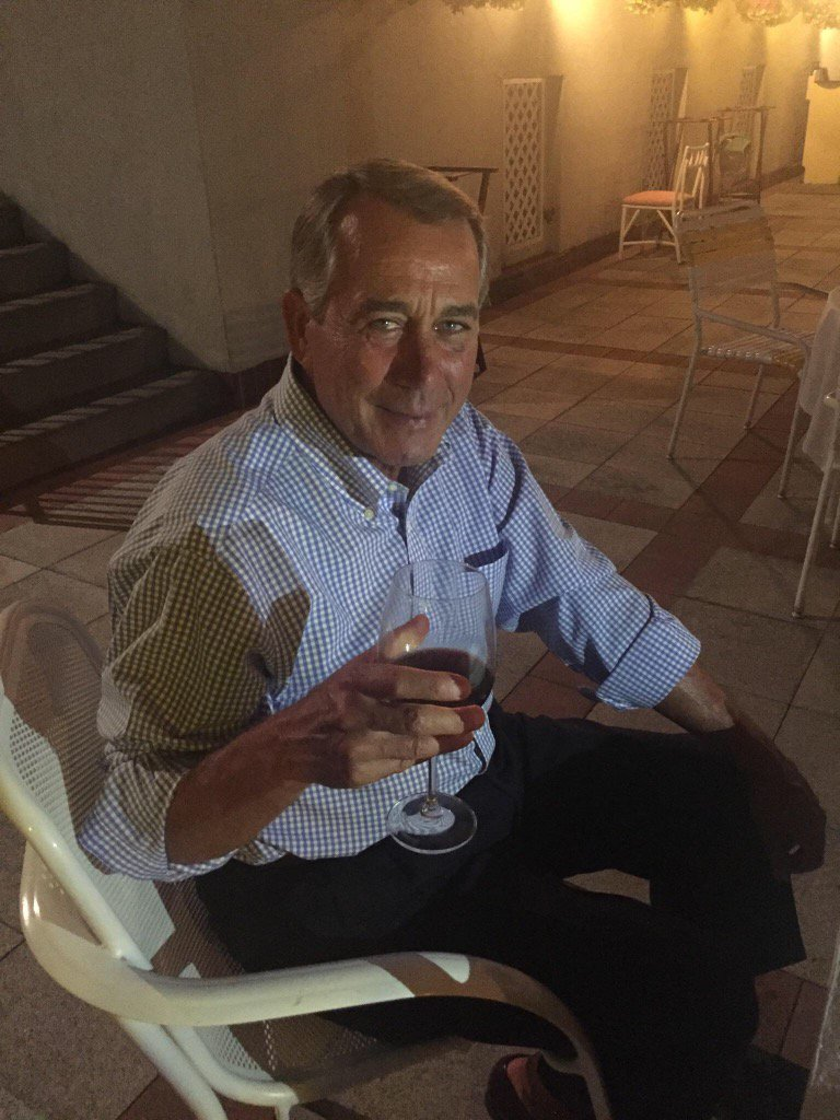 Turns out Speaker Boehner is indeed enjoying Kansas primary night. Just received this from former staffer! https://t.co/hIzmFt8hn0