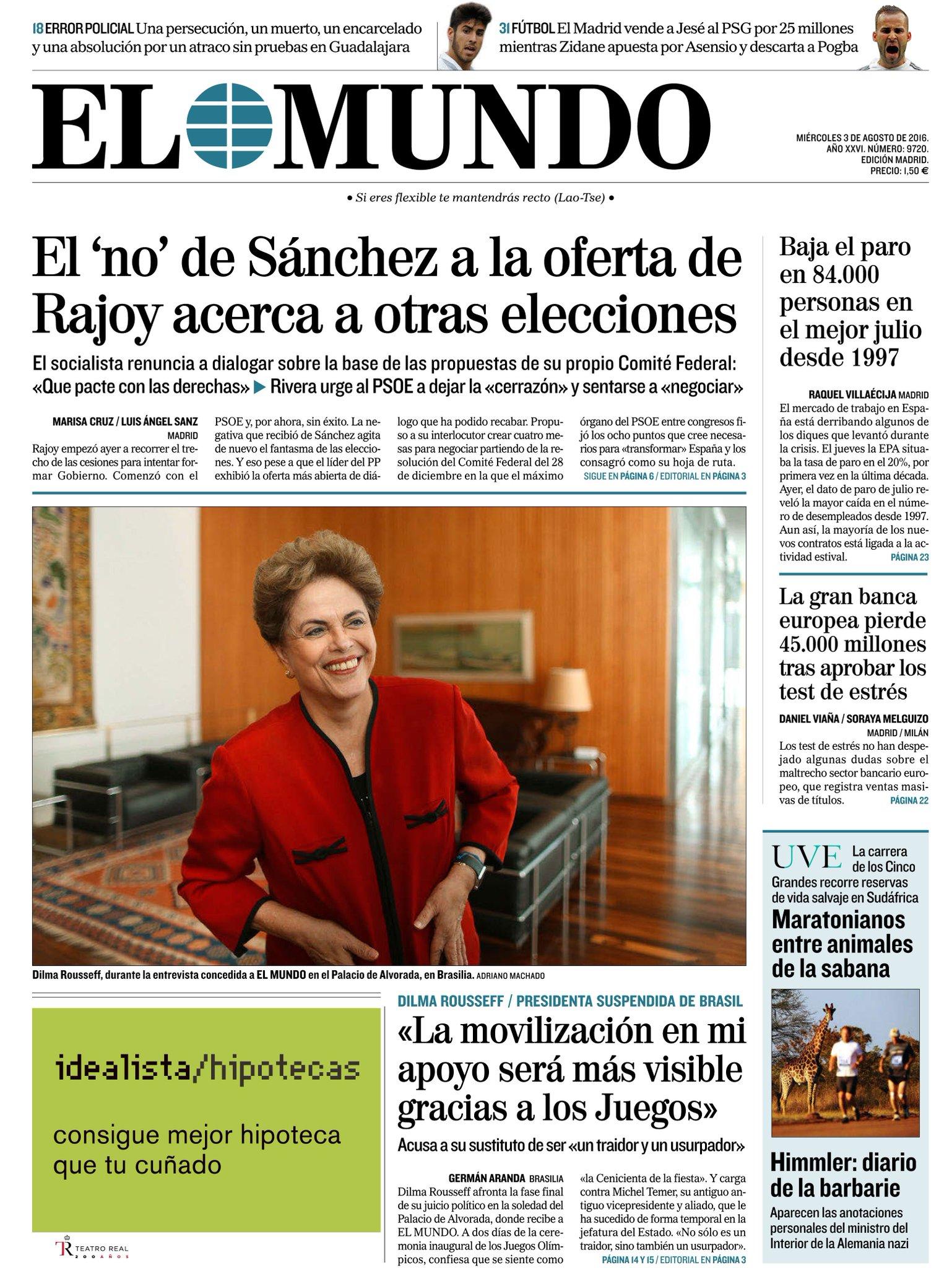 #LaPortada de nuestra edición impresa, con entrevista a Dilma Rousseff, y del suplemento UVE #FelizMiércoles https://t.co/zYFZtJbUap