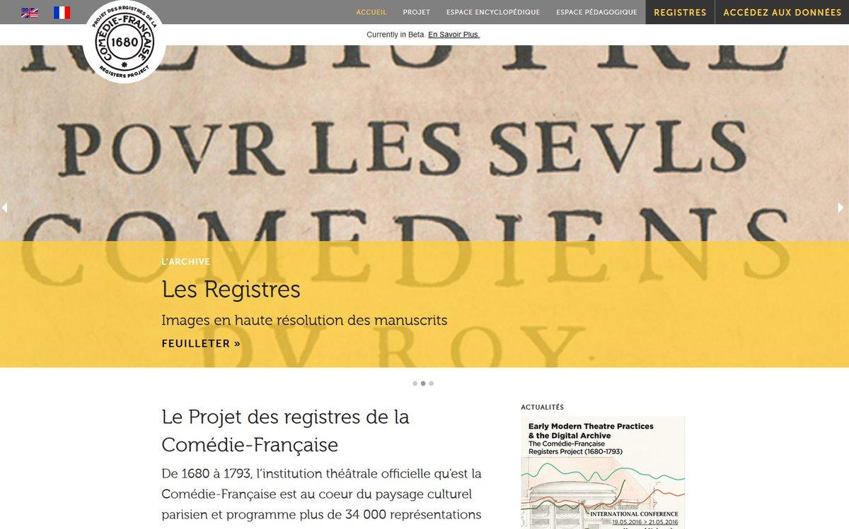 La @ComedieFr met en ligne ses #registres journaliers de 1680 à 1793, avec l'appui du @MIThyperstudio https://t.co/QDCgLrJrIM