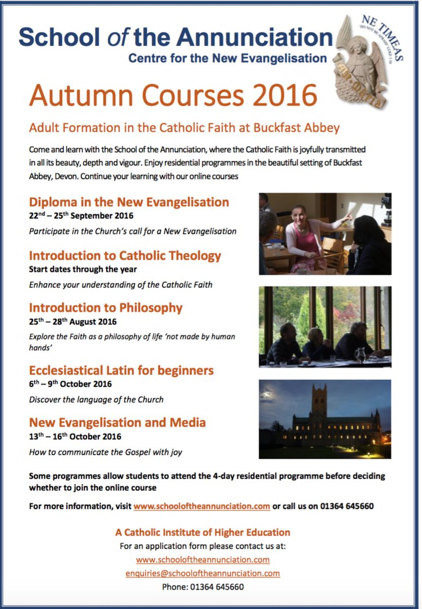 Book an Autumn course now with The School of the Annunciation & deepen your faith @OfAnnunciation @ProtectthePope https://t.co/6EmqTqOJyo