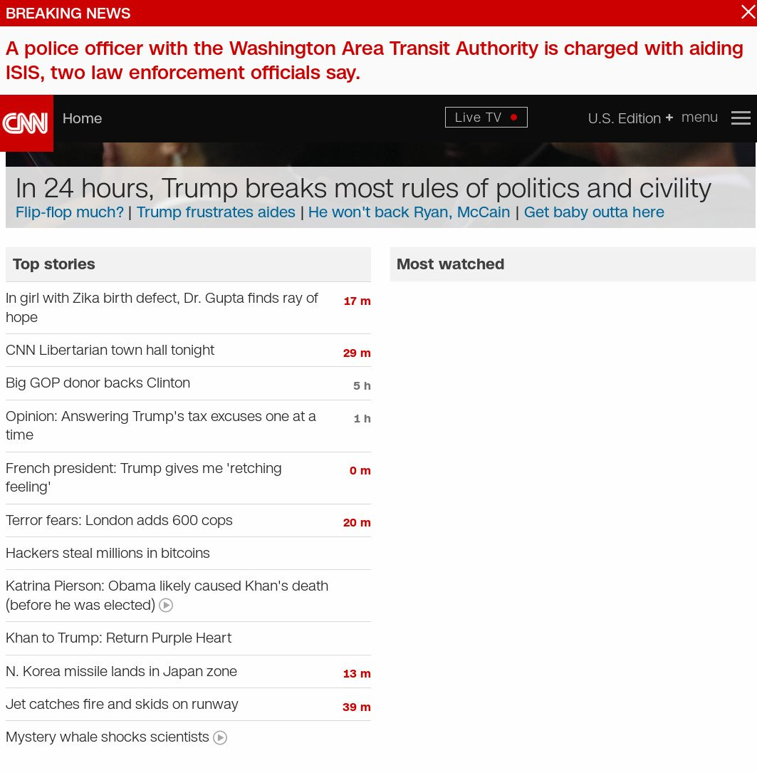 Currently on CNN's front page: 8 stories on Trump, but zip on Obama secretly sending Iran $400 million for hostages. https://t.co/m0oKzjgnTr