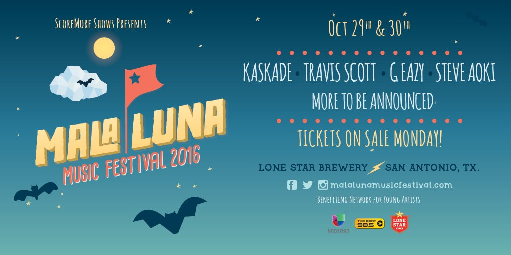 Another one.. @malalunafest Oct 29 & 30 in San Antonio. On sale Mon. 10am https://t.co/GZchpwSlfu #MalaLunaFest https://t.co/V5bJThGiu5