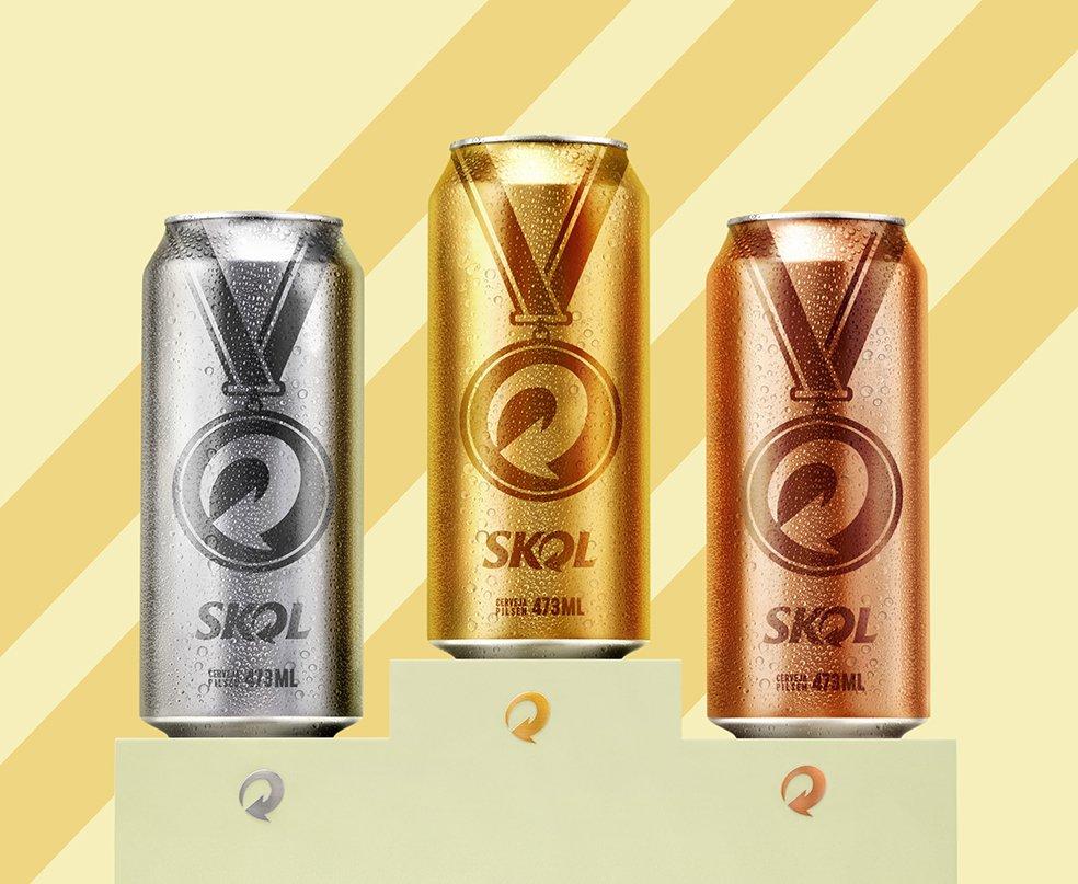 Skol lança latas comemorativas inspiradas nas medalhas olímpicas. Lugar garantido no pódio! https://t.co/YZOY0eo102 https://t.co/fb7s7V3pOm