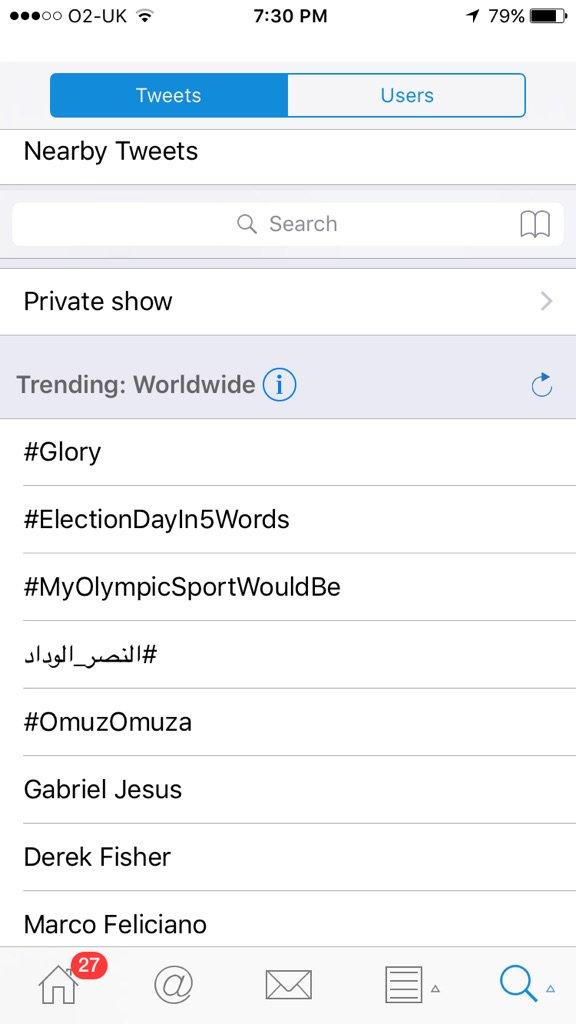 Wow we #1 trending worldwide... #glory https://t.co/xbf0DfZhYS