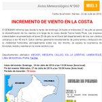 Aviso para ARICA: el Servicio Nacional de Meteorológico del Perú, informa incremento de viento en costa dpto Tacna https://t.co/lFU2KmOduF