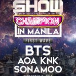 [INFO] BTS is in the line up for MBC Show Champion in Manila on 3 Sept #방탄소년단 https://t.co/ria5jqNbEo