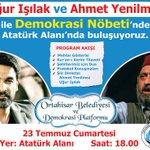 @ugur_isilak ve @ahmetyenilmez ile Demokrasi Nöbetinde Atatürk Alanında saat 18:00da buluşuyoruz. #Trabzon https://t.co/BYNhARAEUt