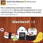 Weekendsushi bij #Sushitime. 10 % korting met code #weekendsushi Bij https://t.co/M7sBIq2QLO. https://t.co/Eo4aHU0Gh5