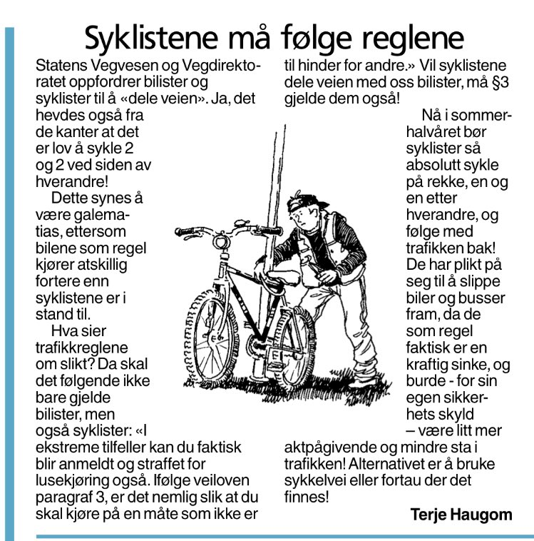 Here we go again! Fra VG i dag. Les gjerne https://t.co/hppZkaN5eD og https://t.co/h6jv7WKmCw. #sykkel #delveien https://t.co/ezIcBXTKtj