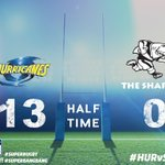 HT | Tries to @LoniUhila & @JimiMar give @Hurricanesrugby a handy lead at the break over @TheSharksZA. #HURvSHA https://t.co/778jDItcMG