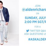 Join @aldenrichards02 tomorrow for a Twitter Q&A before his concert in 🇸🇬! Tweet your questions with #AskAlden.❤️ https://t.co/5pJ4A8saKj