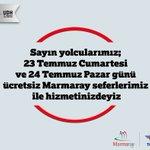 23 Temmuz Cumartesi ve 24 Temmuz Pazar günleri Marmaray seferleri ücretsizdir. https://t.co/IUwBKX0Ugn