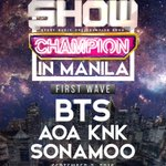 [INFO] BTS is in the lineup for MBC Music Show Champion in Manila https://t.co/gnrlLQfYIy … https://t.co/wr8oebR3wx