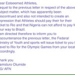 🇳🇬Ministry/AFN: Dear Athletes, buy your tickets to Rio😳 Athletes: Pls Gofundme😢 Twitter:💣🔨AFN/minister🔫 Result?👇🏿 https://t.co/vnwo7IvipM